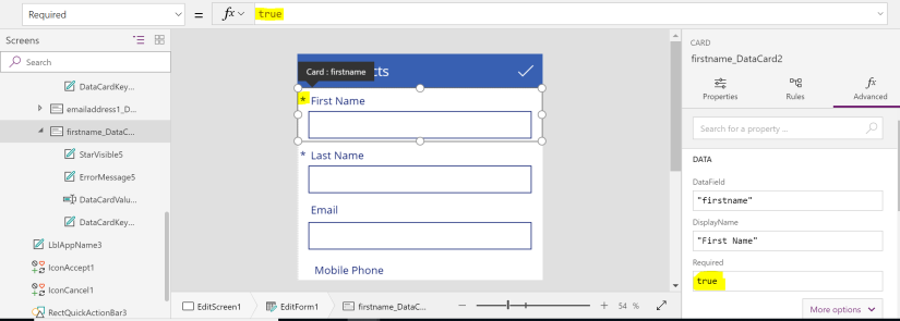 Multiple ways to implement a required field validation in PowerApps
